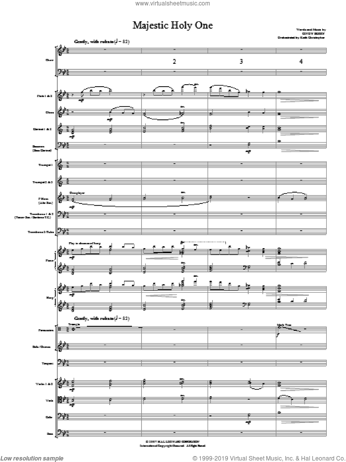 Majestic Holy One (COMPLETE) sheet music for orchestra/band (Orchestra) by Cindy Berry, intermediate. Score Image Preview.