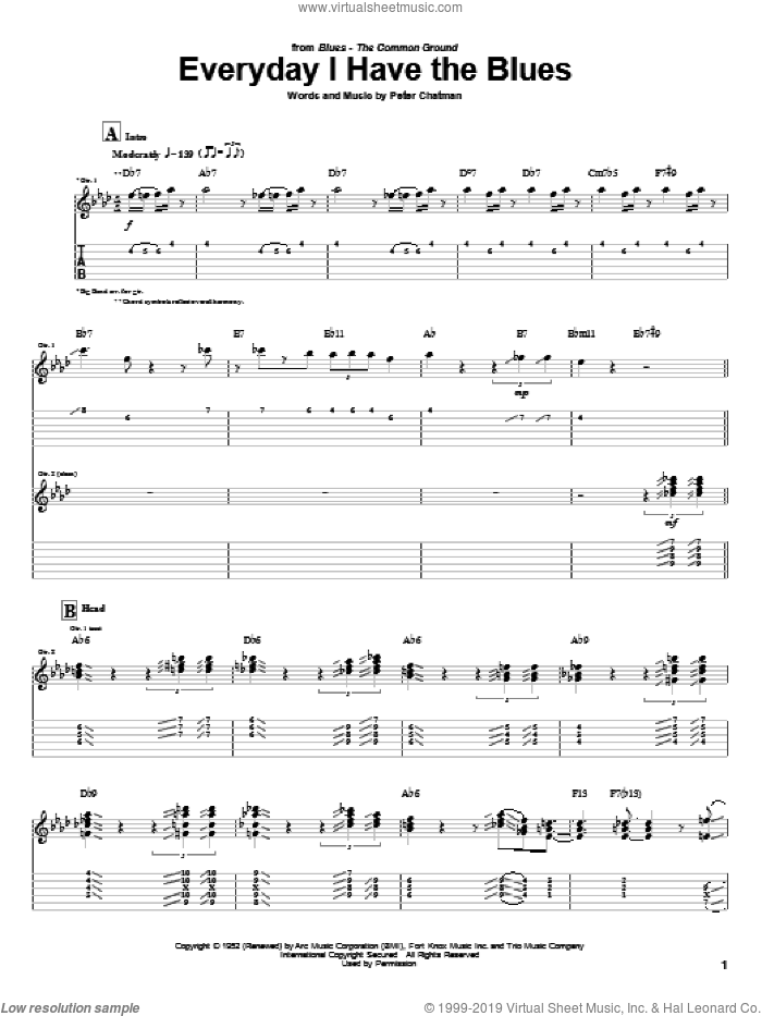 Everyday I Have The Blues sheet music for guitar (tablature) by Kenny Burrell, B.B. King and Peter Chatman, intermediate. Score Image Preview.