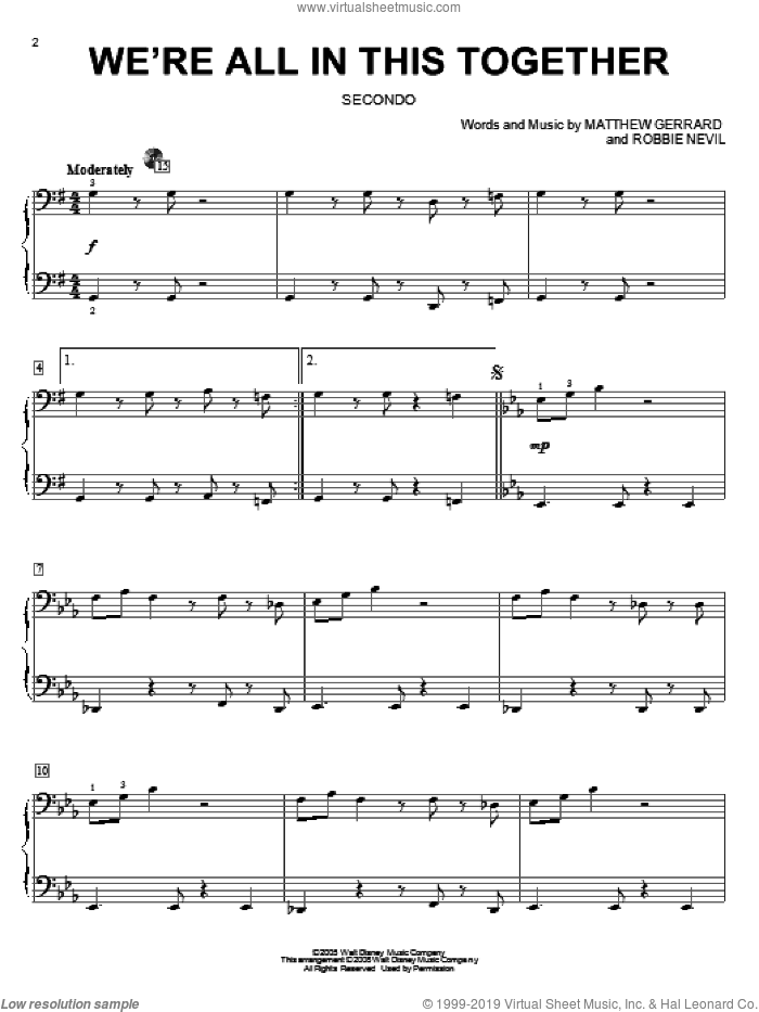 We're All In This Together sheet music for piano four hands (duets) by High School Musical, Matthew Gerrard and Robbie Nevil, intermediate piano four hands. Score Image Preview.