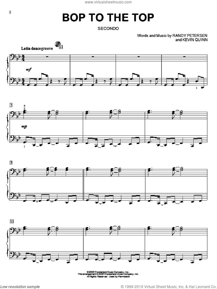 Bop To The Top sheet music for piano four hands (duets) by Randy Petersen, High School Musical and Kevin Quinn. Score Image Preview.