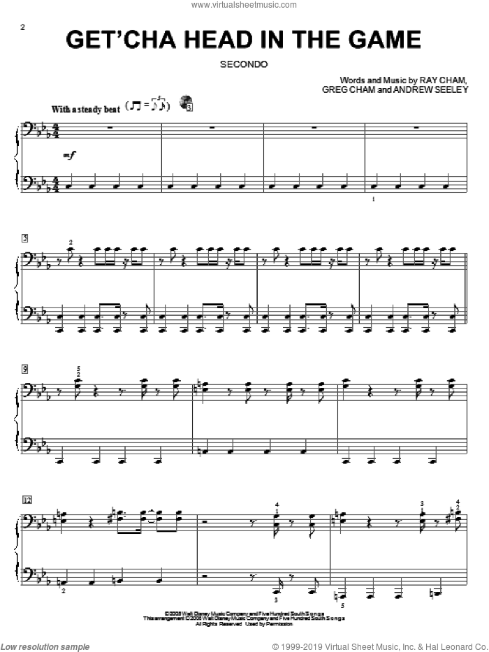 Get'cha Head In The Game sheet music for piano four hands (duets) by High School Musical and Ray Cham. Score Image Preview.