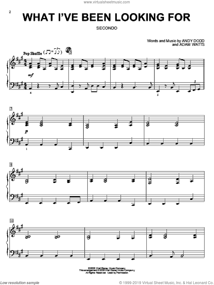 What I've Been Looking For sheet music for piano four hands (duets) by High School Musical and Adam Watts. Score Image Preview.