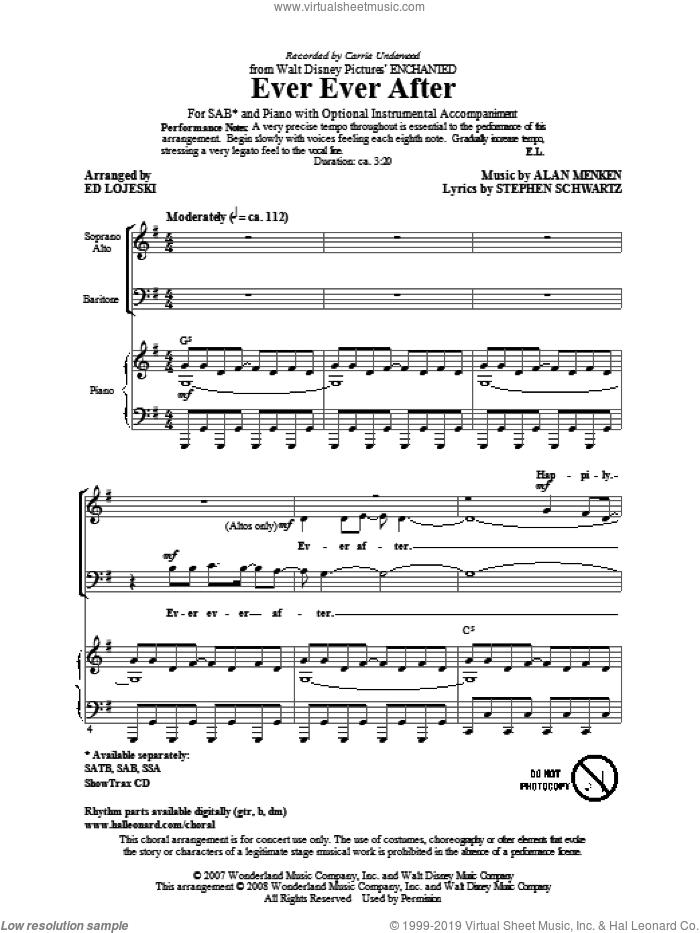 Ever Ever After sheet music for choir (SAB) by Alan Menken, Stephen Schwartz, Carrie Underwood and Ed Lojeski. Score Image Preview.