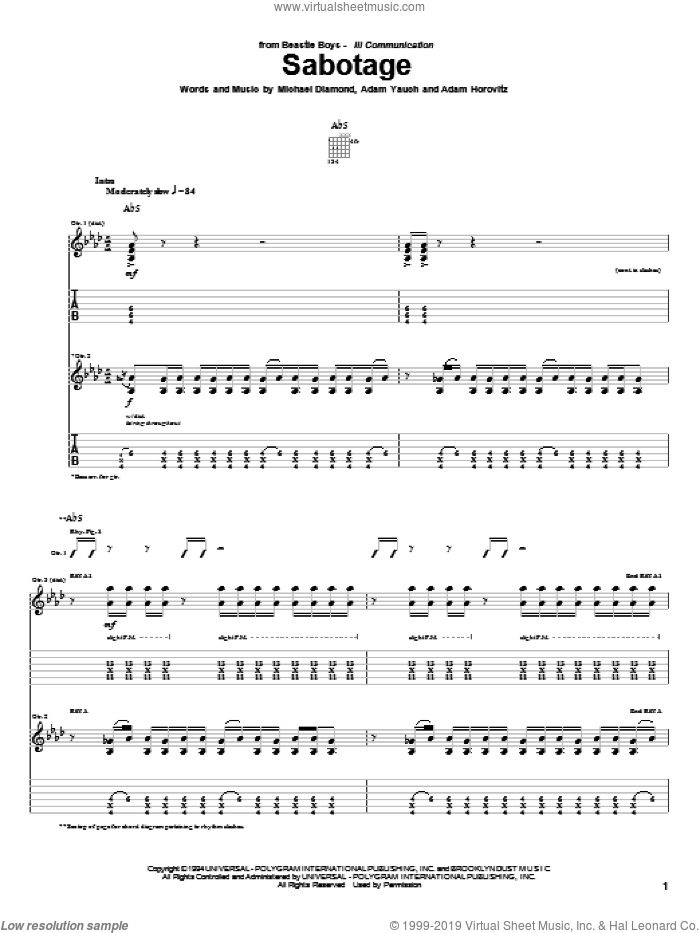 Sabotage sheet music for guitar (tablature) by Beastie Boys, Adam Horovitz and Adam Yauch. Score Image Preview.