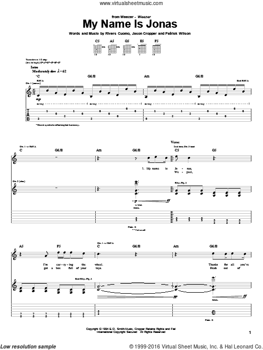 My Name Is Jonas sheet music for guitar (tablature) by Rivers Cuomo
