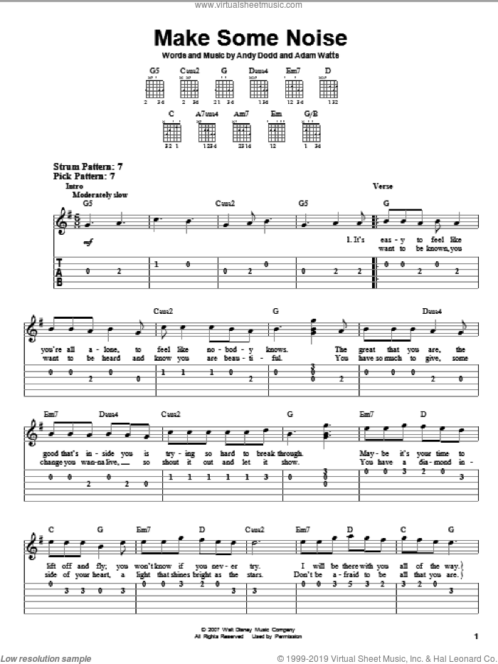 Make Some Noise sheet music for guitar solo (easy tablature) by Andy Dodd, Hannah Montana, Miley Cyrus and Adam Watts. Score Image Preview.