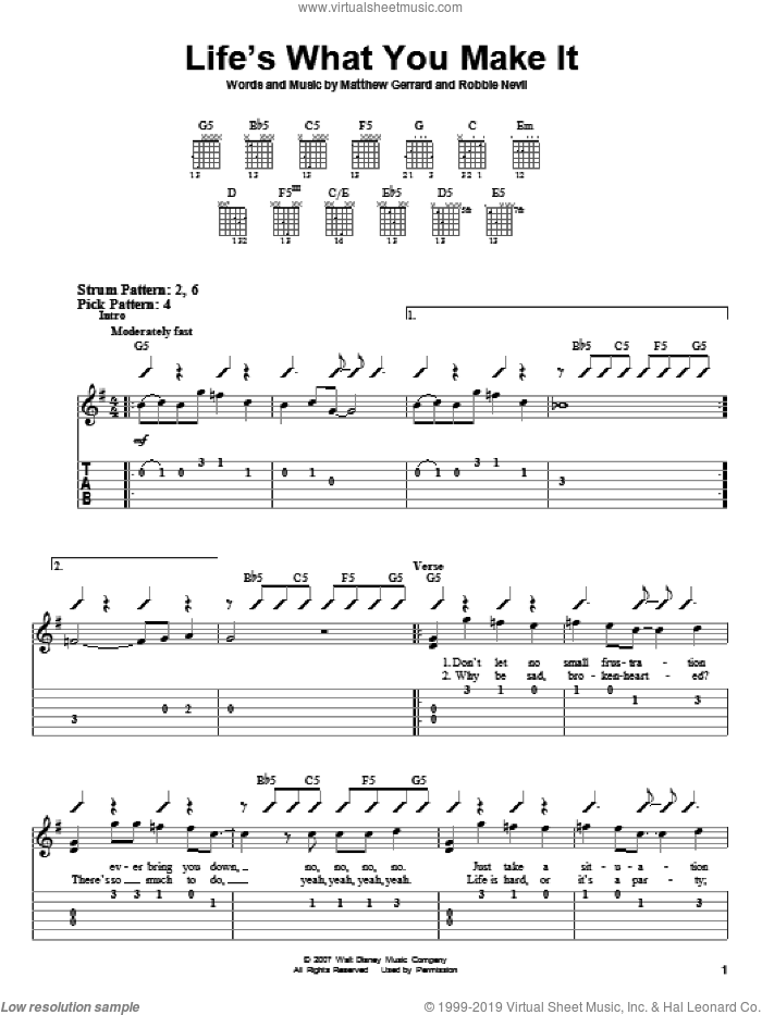 Life's What You Make It sheet music for guitar solo (easy tablature) by Hannah Montana, Miley Cyrus, Matthew Gerrard and Robbie Nevil. Score Image Preview.