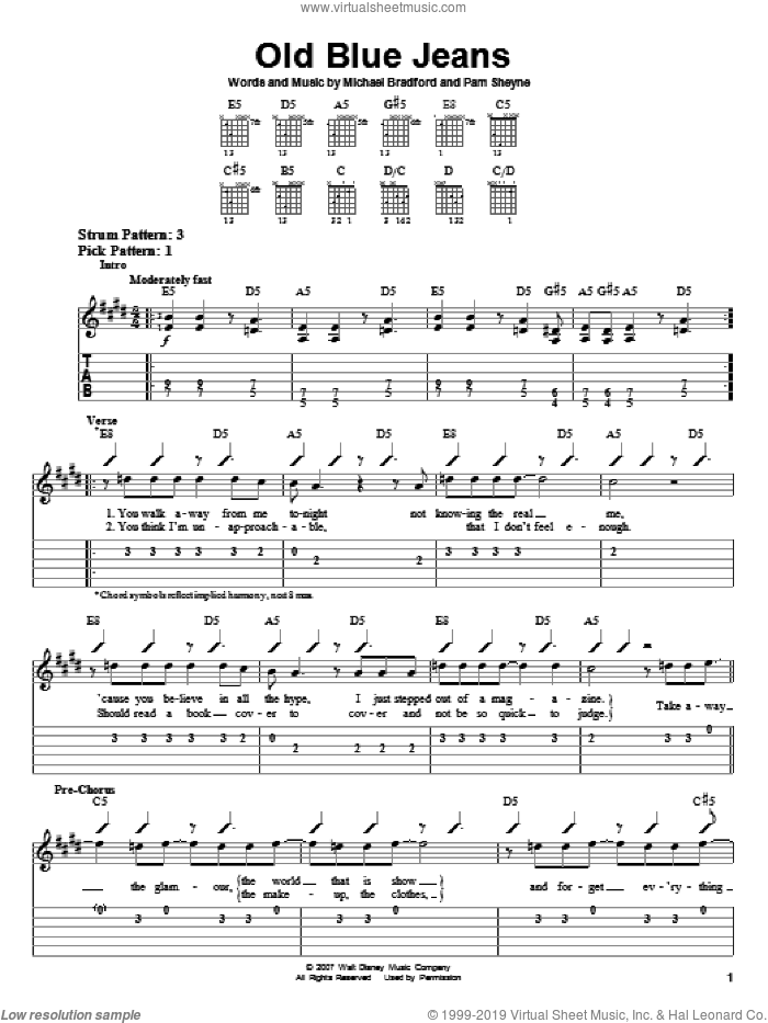 Old Blue Jeans sheet music for guitar solo (easy tablature) by Hannah Montana, Miley Cyrus, Michael Bradford and Pam Sheyne, easy guitar (easy tablature)