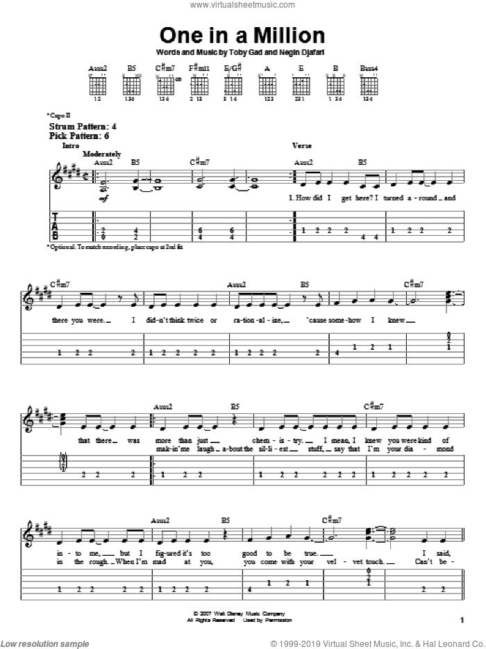One In A Million sheet music for guitar solo (easy tablature) by Toby Gad