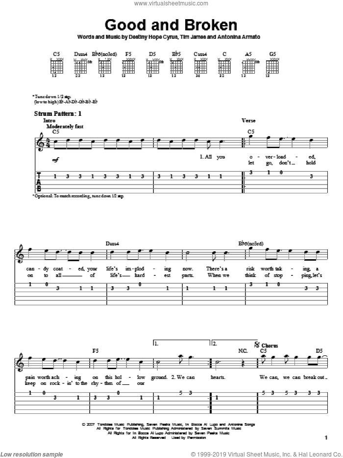 Good And Broken sheet music for guitar solo (easy tablature) by Tim James, Hannah Montana, Miley Cyrus and Antonina Armato. Score Image Preview.
