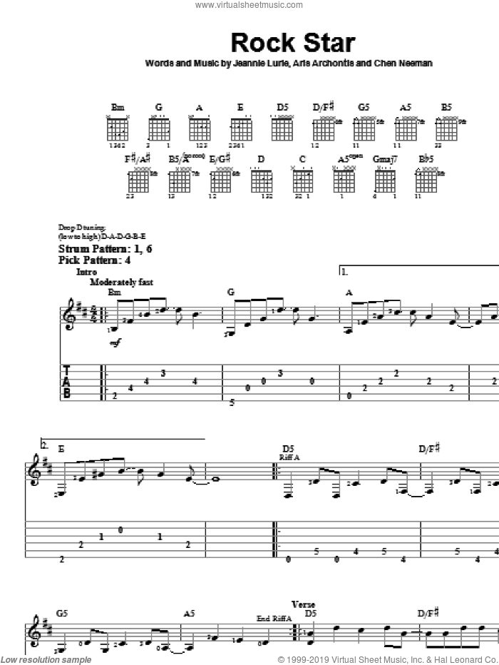 Rock Star sheet music for guitar solo (easy tablature) by Hannah Montana, Miley Cyrus, Chen Neeman and Jeannie Lurie. Score Image Preview.