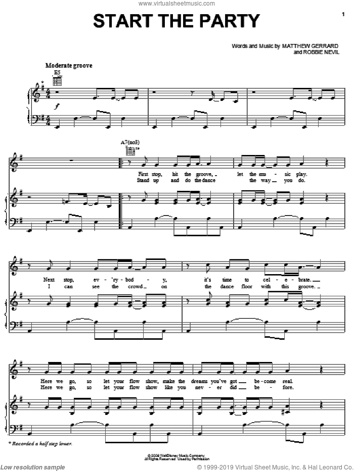 Start The Party sheet music for voice, piano or guitar by Robbie Nevil and Matthew Gerrard. Score Image Preview.