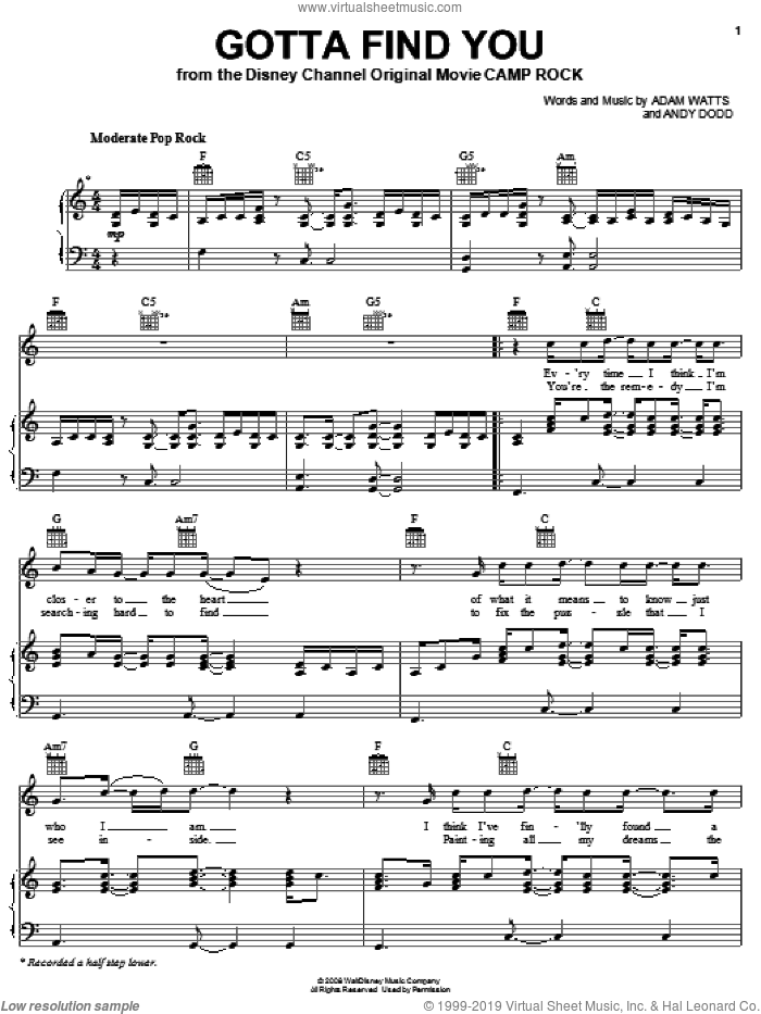 Gotta Find You (from Camp Rock) sheet music for voice, piano or guitar by Joe Jonas, Camp Rock (Movie), Jonas Brothers, Adam Watts and Andy Dodd, intermediate skill level