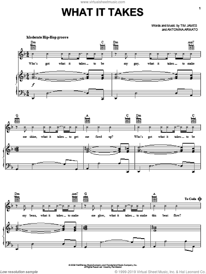 What It Takes sheet music for voice, piano or guitar by Tim James and Antonina Armato. Score Image Preview.