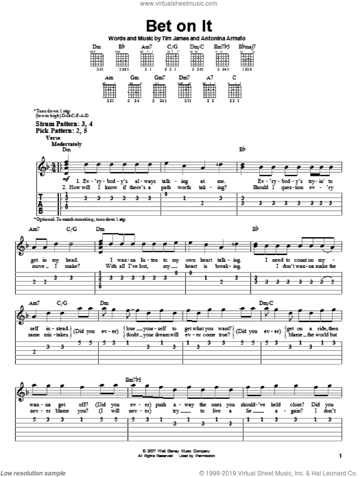 Bet On It sheet music for guitar solo (easy tablature) by High School Musical 2, Antonina Armato and Tim James, easy guitar (easy tablature). Score Image Preview.