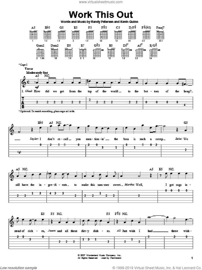 Work This Out sheet music for guitar solo (easy tablature) by Randy Petersen, High School Musical 2 and Kevin Quinn. Score Image Preview.