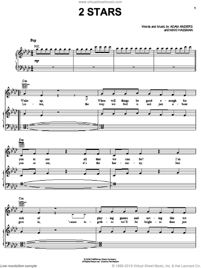 2 Stars sheet music for voice, piano or guitar by Nikki Hassman