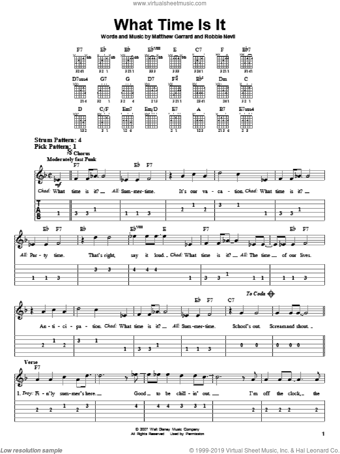 What Time Is It sheet music for guitar solo (easy tablature) by High School Musical 2, Matthew Gerrard and Robbie Nevil, easy guitar (easy tablature)