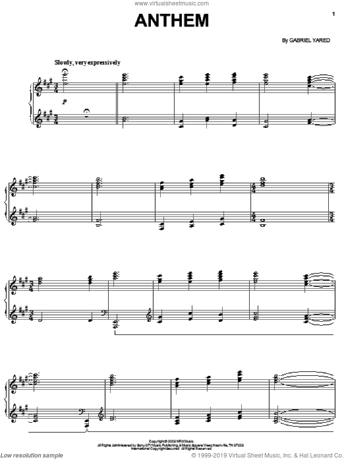 Anthem sheet music for piano solo by Gabriel Yared. Score Image Preview.