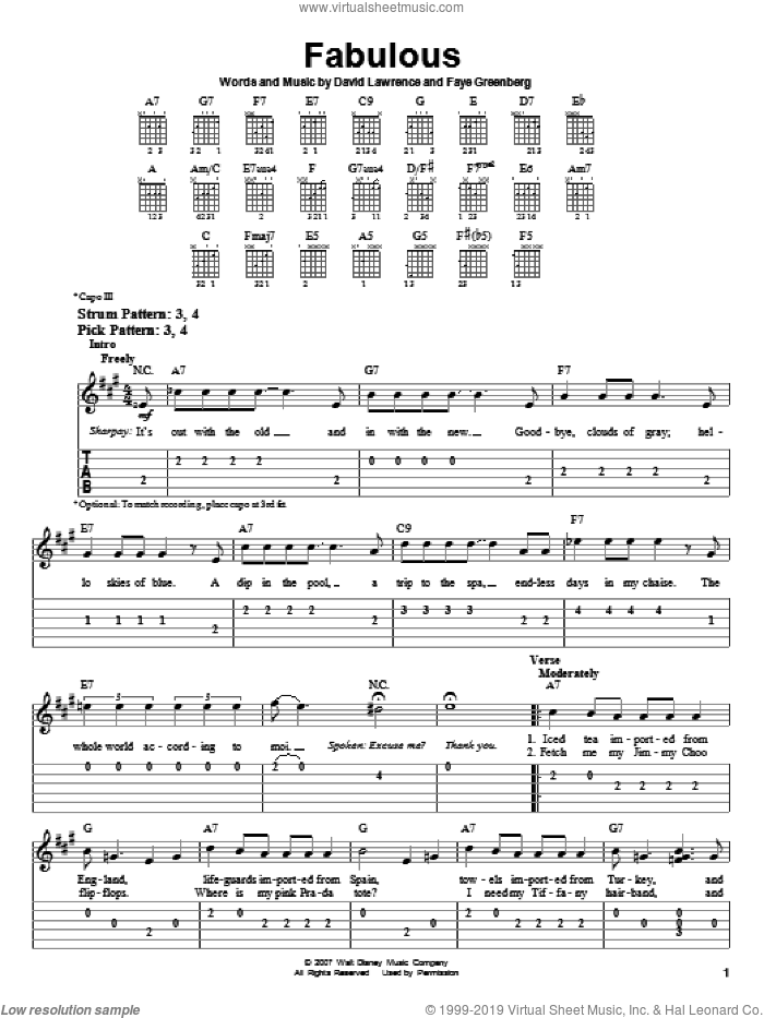 Fabulous sheet music for guitar solo (easy tablature) by High School Musical 2, David Lawrence and Faye Greenberg, easy guitar (easy tablature)