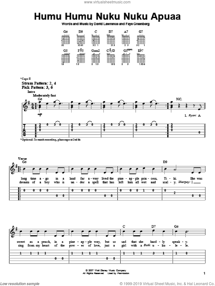 Humu Humu Nuku Nuku Apuaa sheet music for guitar solo (easy tablature) by High School Musical 2 and David Lawrence. Score Image Preview.