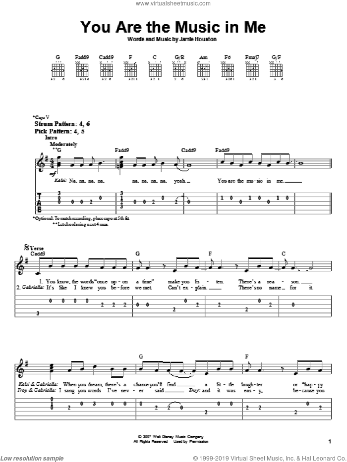 You Are The Music In Me sheet music for guitar solo (easy tablature) by High School Musical 2 and Jamie Houston, easy guitar (easy tablature). Score Image Preview.