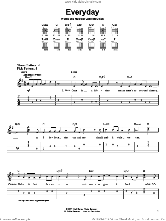 Everyday sheet music for guitar solo (easy tablature) by Jamie Houston and High School Musical 2. Score Image Preview.