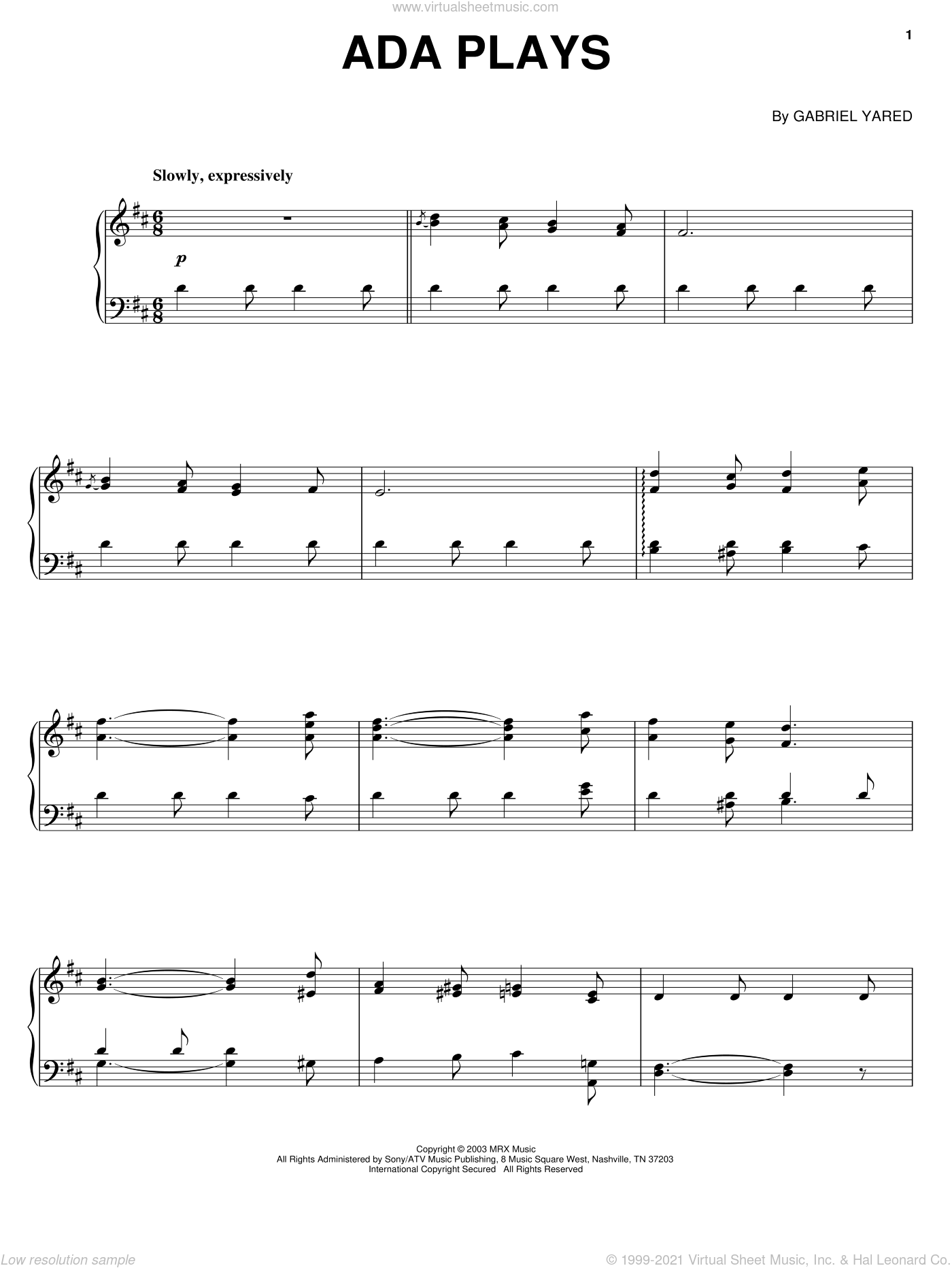 Ada Plays, (intermediate) sheet music for piano solo by Gabriel Yared and Cold Mountain (Movie), intermediate skill level