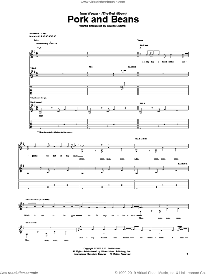 Pork And Beans sheet music for guitar (tablature) by Weezer. Score Image Preview.