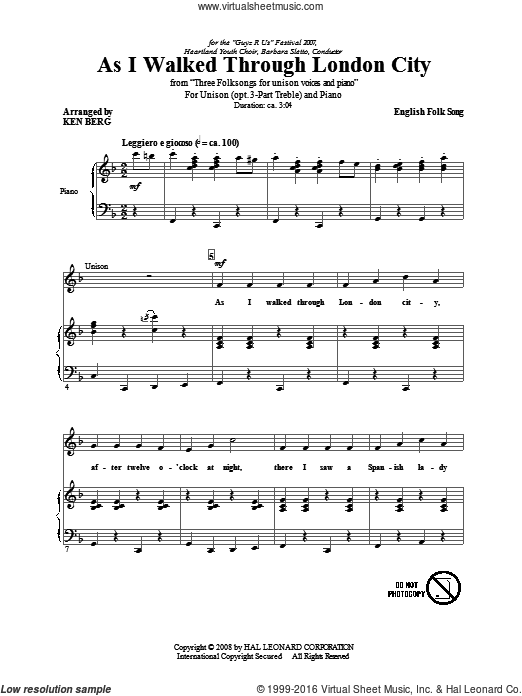 As I Walked Through London City sheet music for choir (voice) by Ken Berg and Miscellaneous. Score Image Preview.