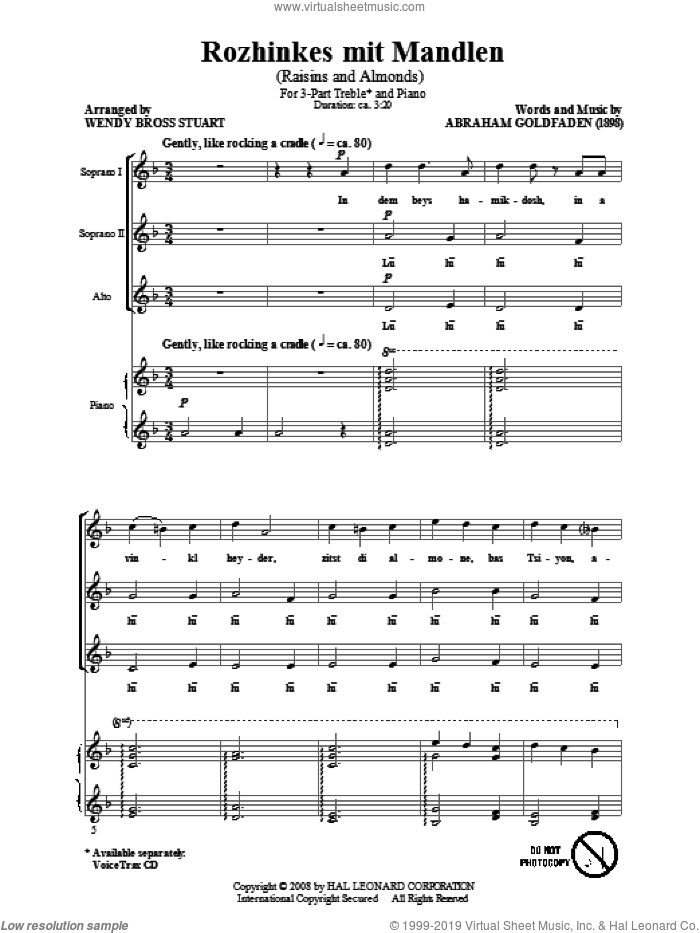 Rozhinkes Mit Mandlen (Raisins And Almonds) sheet music for choir (3-Part Treble) by Abraham Goldfaden and Wendy Bross Stuart, intermediate skill level