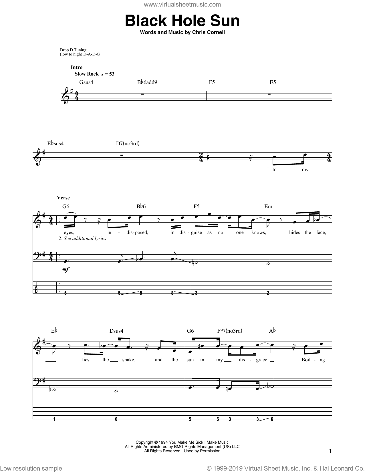 Black Hole Sun sheet music for bass (tablature) (bass guitar) by Soundgarden and Chris Cornell, intermediate. Score Image Preview.