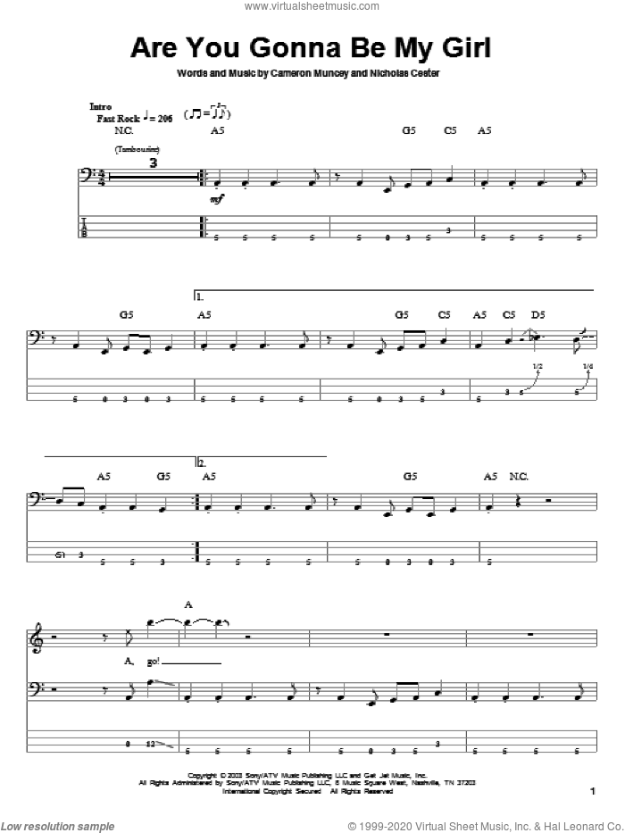 Are You Gonna Be My Girl sheet music for bass (tablature) (bass guitar) by Nic Cester and Cameron Muncey, intermediate. Score Image Preview.