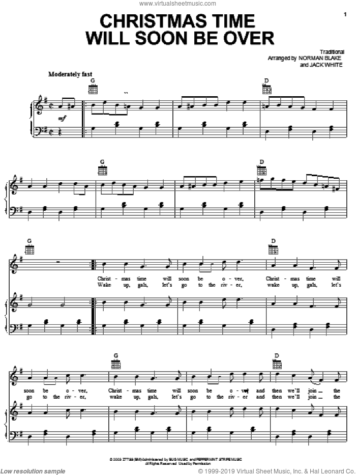 Christmas Time Will Soon Be Over sheet music for voice, piano or guitar by Jack White, Cold Mountain (Movie) and Norman Blake, intermediate skill level