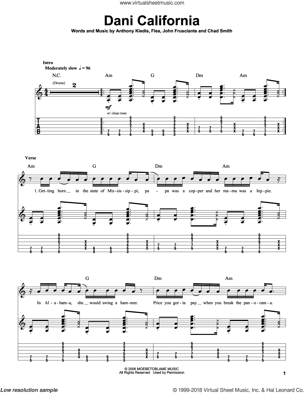 Dani California sheet music for guitar (tablature, play-along) by John Frusciante, Red Hot Chili Peppers and Flea. Score Image Preview.