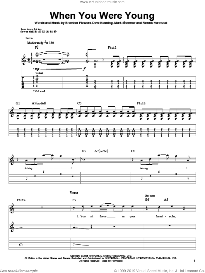 When You Were Young sheet music for guitar (tablature, play-along) by The Killers and Brandon Flowers, intermediate guitar (tablature, play-along). Score Image Preview.