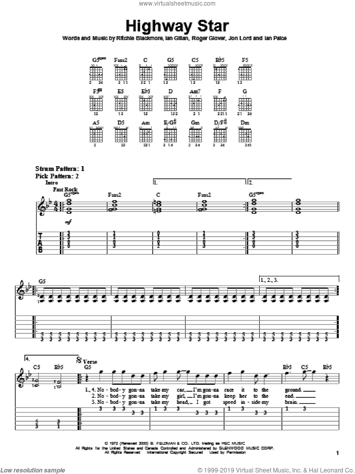 Highway Star sheet music for guitar solo (easy tablature) by Deep Purple, Ian Gillan, Ian Paice, Jon Lord, Ritchie Blackmore and Roger Glover, easy guitar (easy tablature)