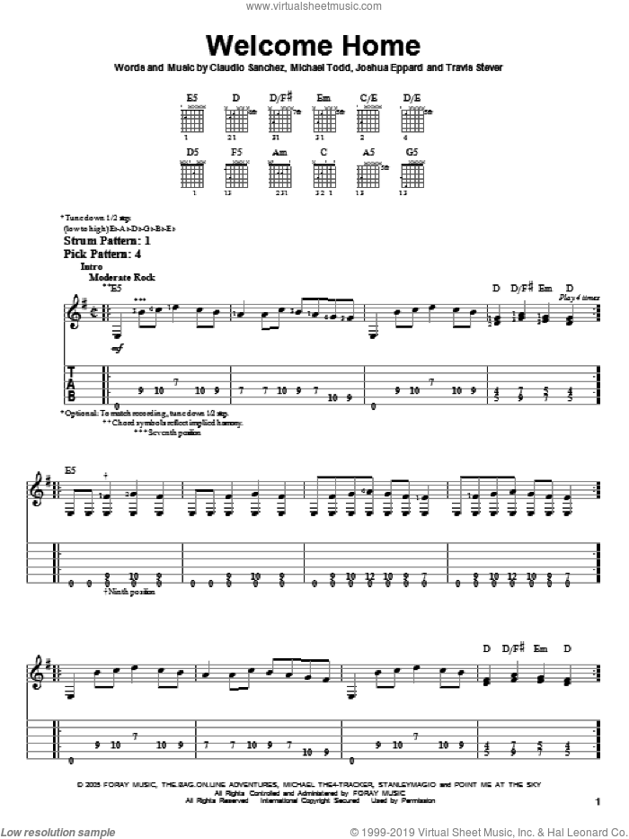 Welcome Home sheet music for guitar solo (easy tablature) by Travis Stever, Claudio Sanchez and Joshua Eppard. Score Image Preview.