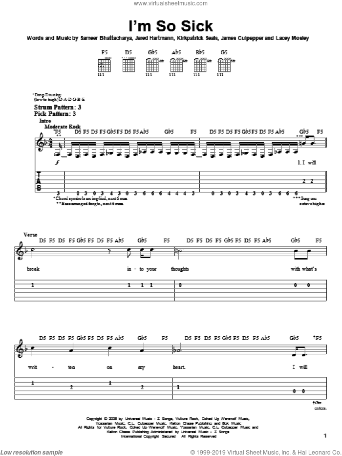 I'm So Sick sheet music for guitar solo (easy tablature) by Sameer Bhattacharya
