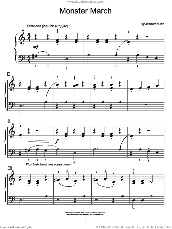 Monster March sheet music for piano solo (elementary) by Jennifer Linn and Miscellaneous, beginner piano (elementary)