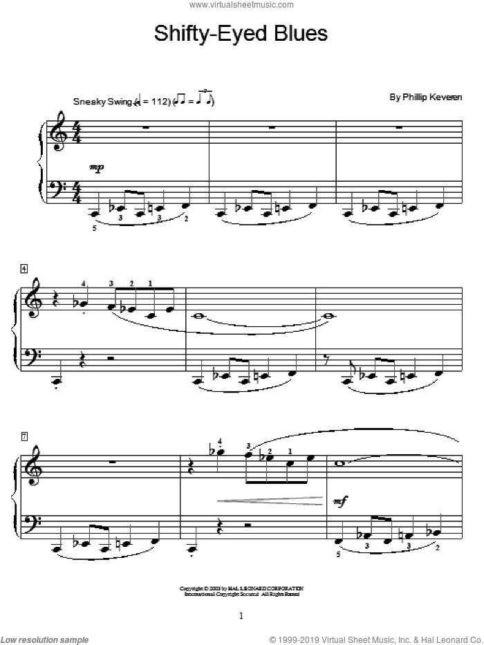 Shifty-Eyed Blues sheet music for piano solo (elementary) by Phillip Keveren and Miscellaneous. Score Image Preview.