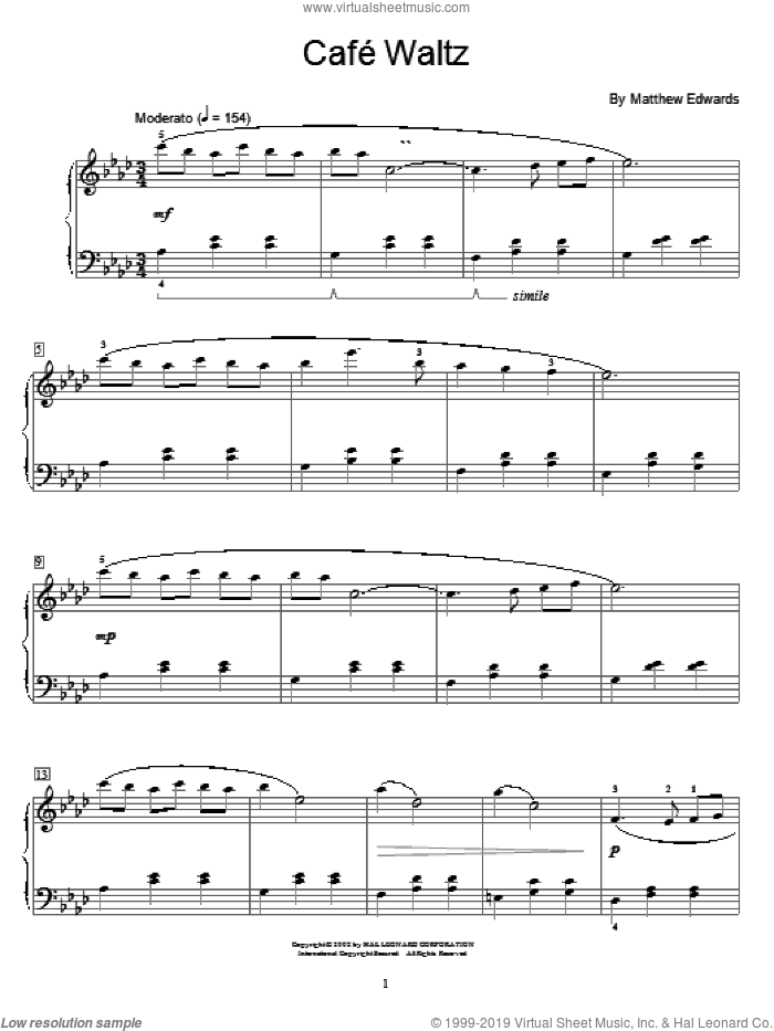 Cafe Waltz sheet music for piano solo (elementary) by Matthew Edwards and Miscellaneous. Score Image Preview.