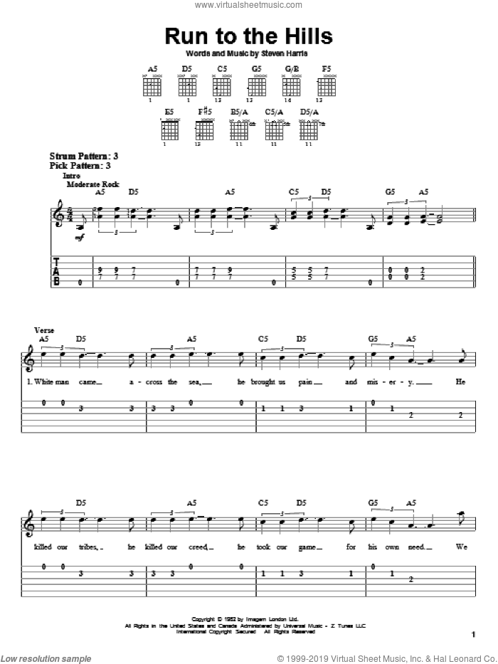 Run To The Hills sheet music for guitar solo (easy tablature) by Steve Harris and Iron Maiden. Score Image Preview.