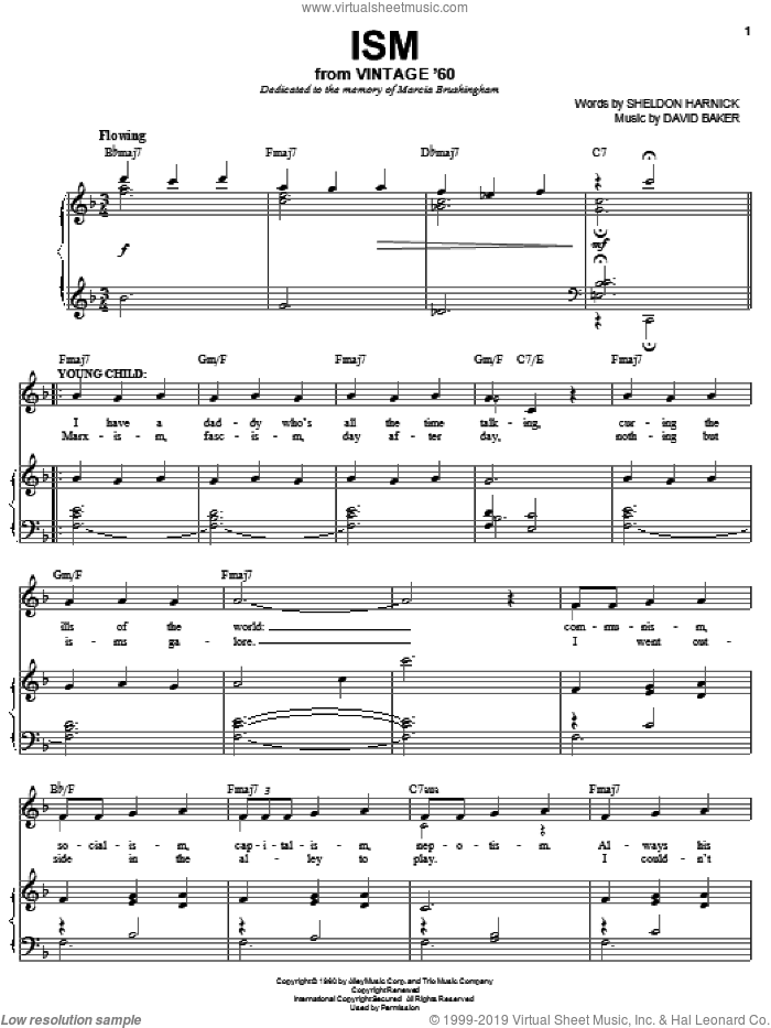 Ism sheet music for voice, piano or guitar by Sheldon Harnick and David Baker, intermediate skill level