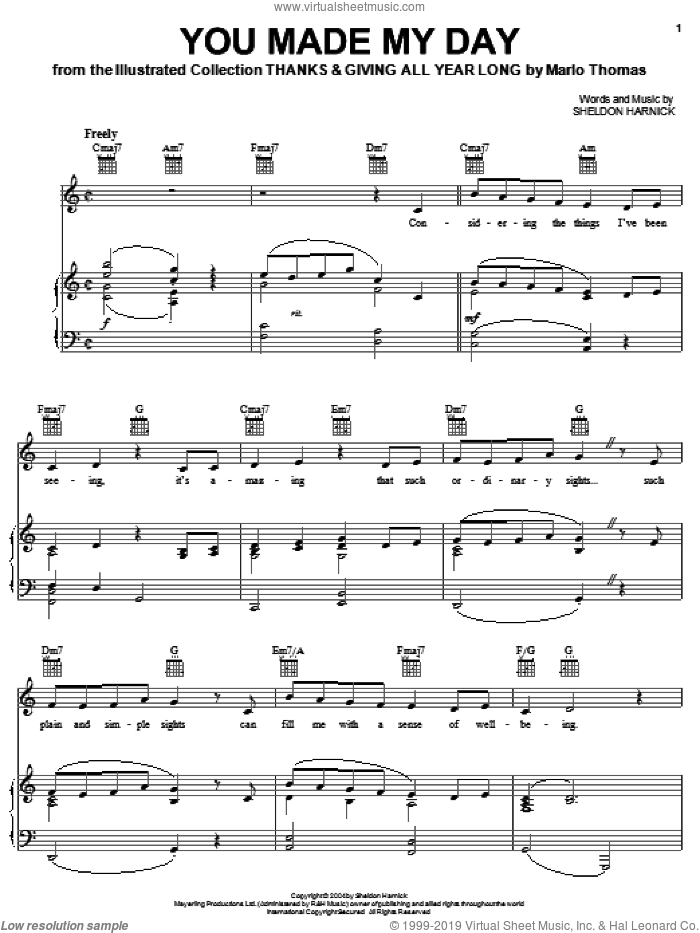 You Made My Day sheet music for voice, piano or guitar by Sheldon Harnick. Score Image Preview.