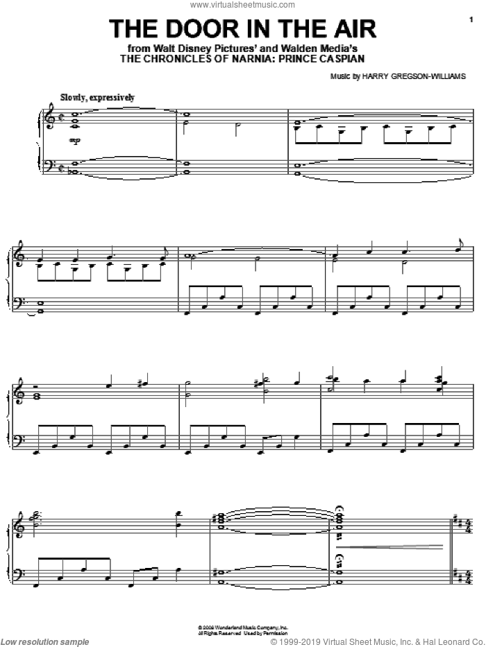 The Door In The Air sheet music for piano solo by Harry Gregson-Williams and The Chronicles of Narnia: Prince Caspian (Movie), intermediate skill level