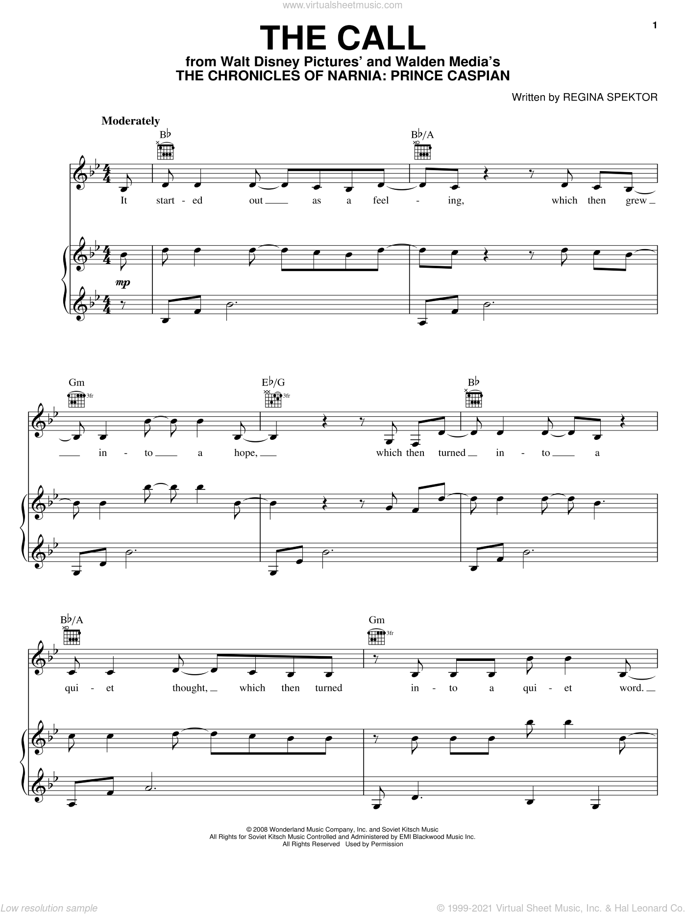 The Call sheet music for voice, piano or guitar by Regina Spektor. Score Image Preview.