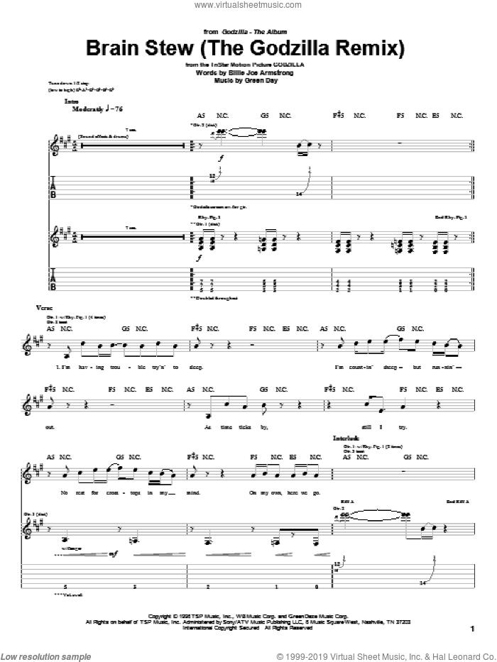 Brain Stew (The Godzilla Remix) sheet music for guitar (tablature) by Green Day and Billie Joe Armstrong, intermediate. Score Image Preview.