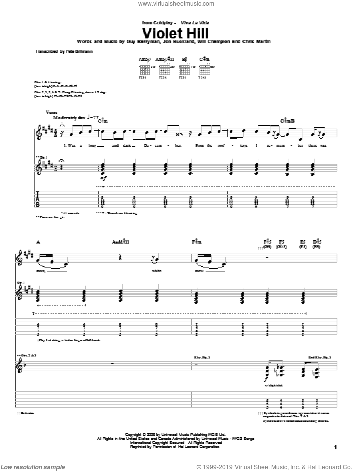 Violet Hill sheet music for guitar (tablature) by Coldplay. Score Image Preview.
