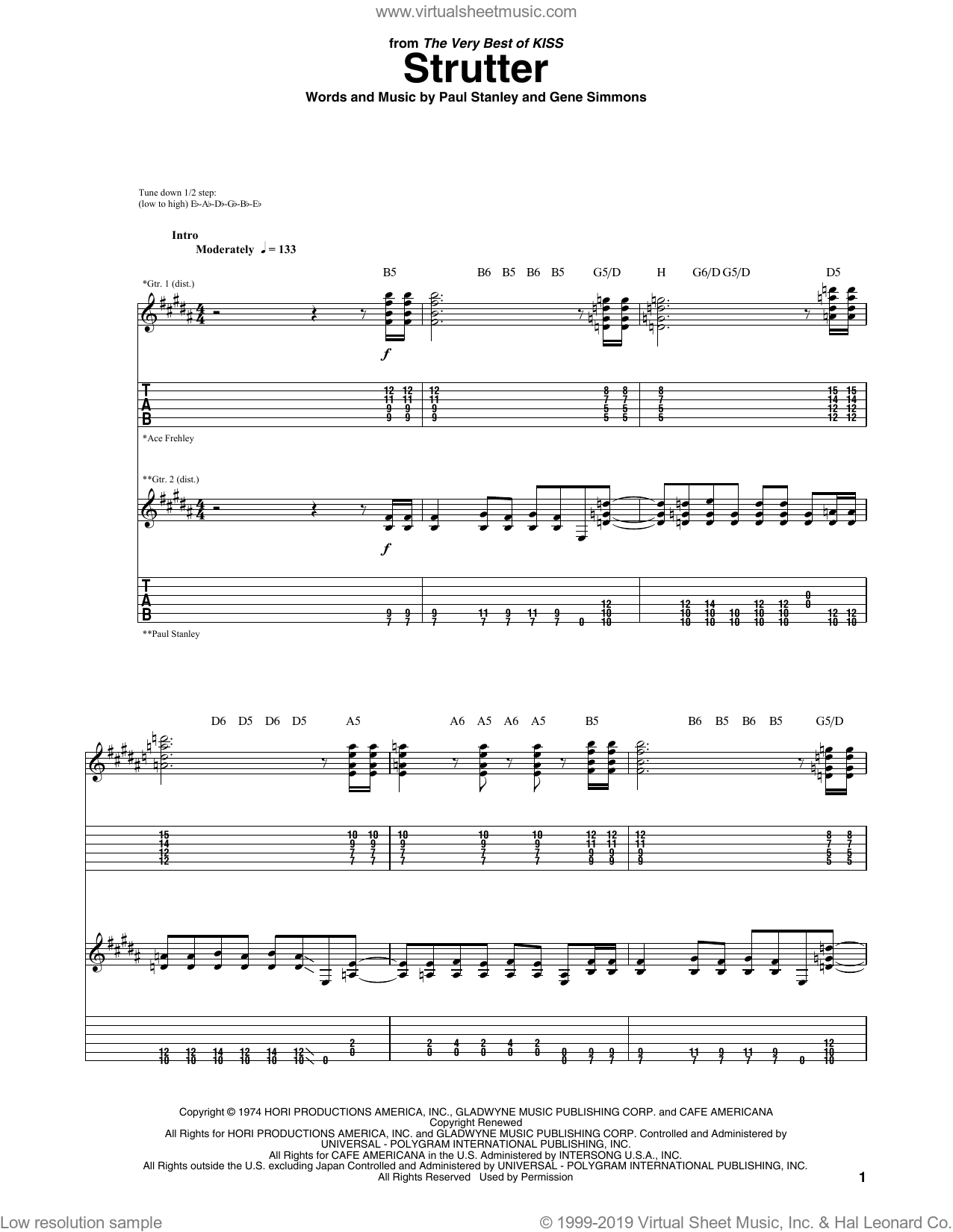 Strutter sheet music for guitar (tablature) by KISS, Gene Simmons and Paul Stanley. Score Image Preview.